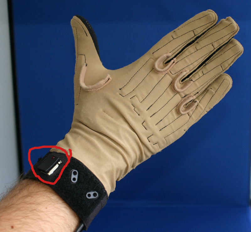 The Cyberglove, with the wrist button highlighted