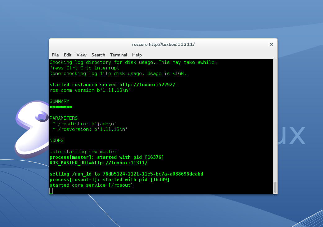 roscore running on Gentoo Linux