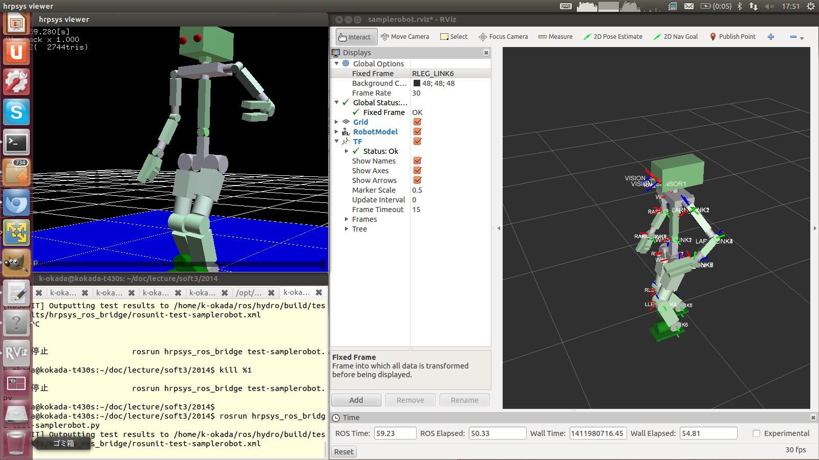 sample robot in hrpsys and rviz